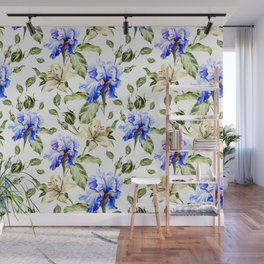 Irisis and lilies - flower pattern no3 Wall Mural
