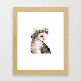 Flower Crowned Barn Owl Framed Art Print