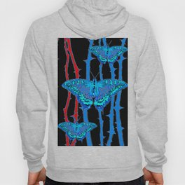 BABY BLUE MOTHS WITH  THORN CANES BLACK ABSTRACT Hoody