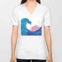 hokusai V-neck T-shirts featuring Hokusai Rainbow & Jpanese Snapper  by FACTORIE