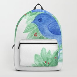 Blue bird and shrub watercolor painting Backpack