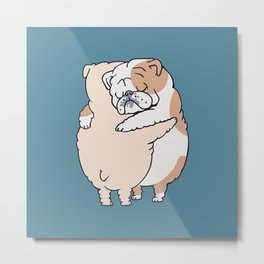 English Bulldog Hugs Metal Print
