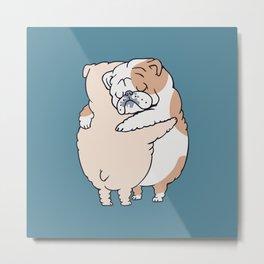 English Bulldog Hugs Metal Print