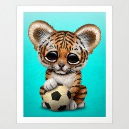 Tiger Cub With Football Soccer Ball Art Print