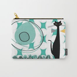 Mid-Century Modern Atomic Art - Teal - Cat Carry-All Pouch