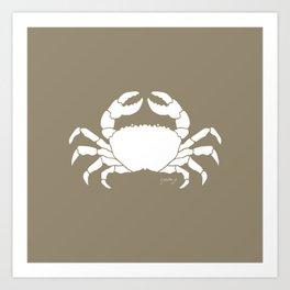 Crab Beige Background Art Print