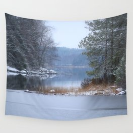Blue Moment By The Lake Wall Tapestry