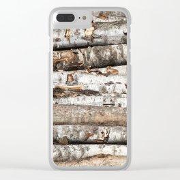 striped birch trunks Clear iPhone Case