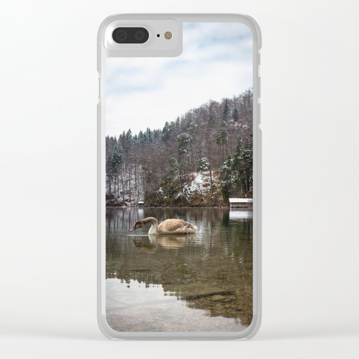 Beautiful scene of swan (lat. Cygnus olor) on the lake Clear iPhone Case