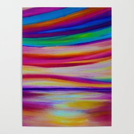 RAINBOW REFLECTIONS - Abstract Seascape/ Sky Oil Painting Poster