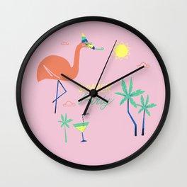 Pink-Flamingo Wall Clock