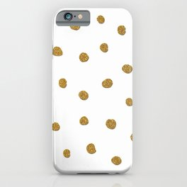 Golden touch II - Gold glitter polka dots iPhone Case