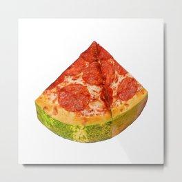 Watermelon Pizza Metal Print