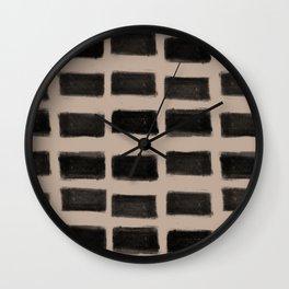 Brush Strokes Horizontal Lines Black on Nude Wall Clock