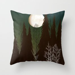 Into The Cold Winter Woods Throw Pillow