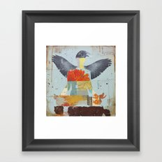 Crow Collage Framed Art Print