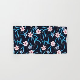 Dark Floral Blooming Hand Drawing Flower Pattern Hand & Bath Towel