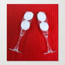 Easter design with champagne flutes and eggs Canvas Print