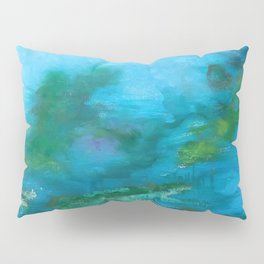 Light Blue Monet´s Theme of Waterlilies Pillow Sham
