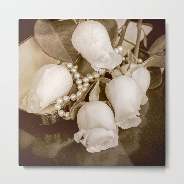Pearl and roses Metal Print