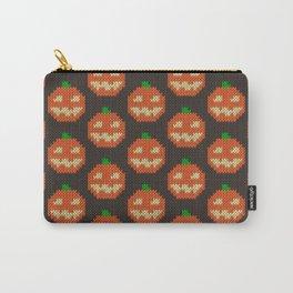 Knitted pumpkin pattern - dark Carry-All Pouch