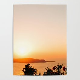 Sunset on Oia Greek Islands Greece Poster