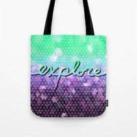 explore Tote Bags featuring explore by Lisa Argyropoulos