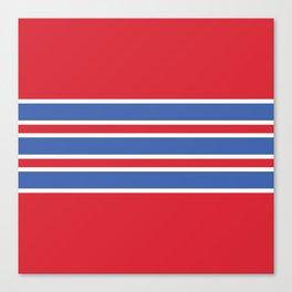 70s Style Red White Blue Retro Stripes Tlaloc Canvas Print