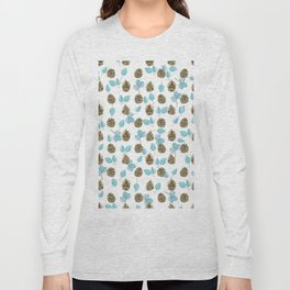 Modern teal brown botanical leaves pinecone pattern Long Sleeve T-shirt