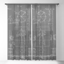 Windmill Horizontal Wind Wheel 1841 Patent  Sheer Curtain