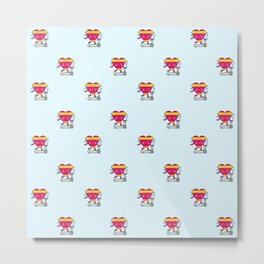 My heart goes faster for you pattern Metal Print
