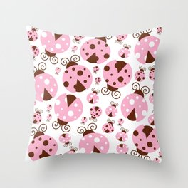 Ladybugs (Ladybirds, Lady Beetles) - Pink Brown Throw Pillow