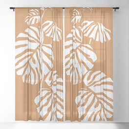 Abstract Monstera Sheer Curtain