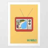 hawaiian Art Prints featuring Hawaiian TV by uzualsunday