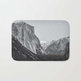 El Capitan, Half Dome and Sentinel Rock from Tunnel View bw Bath Mat