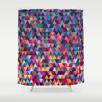 triangles Shower Curtains featuring Triangles by Ornaart