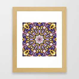 Kaleidoscope in purple, pink, gold and blue Framed Art Print