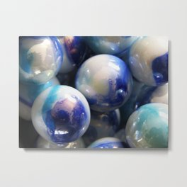 Blue Marbles Metal Print