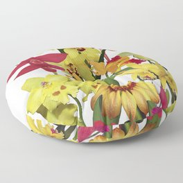 Orchids - Hot Colors! On white Floor Pillow