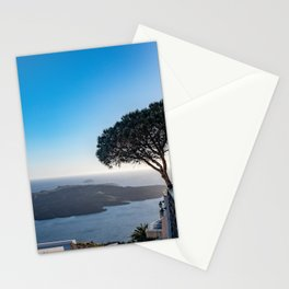 Lone Tree in Thira, View of Volcano in Santorini Stationery Cards