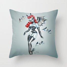 Vampire Bat Pinup Girl Throw Pillow