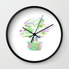 A Perfect Gift Tee With An Illustration Silhouette Of A Magical Oak Tree T-shirt Design Neon Wall Clock