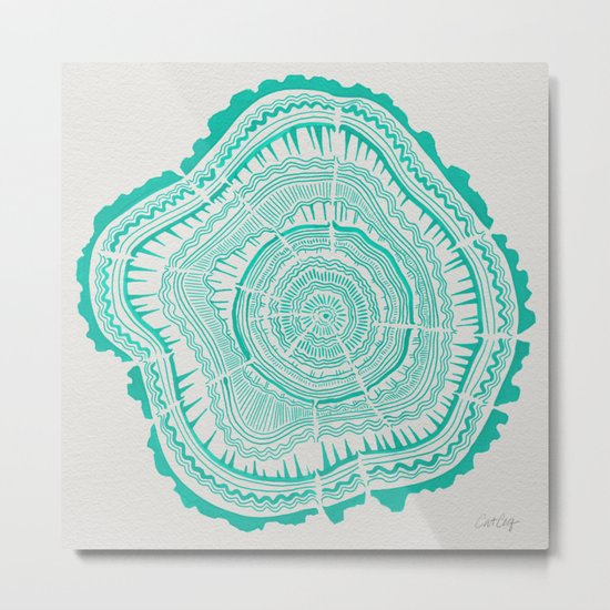 Turquoise Tree Rings Metal Print