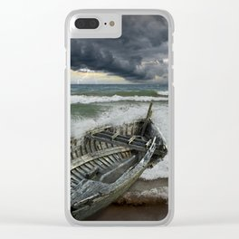 Shipwrecked Wooden Boat amidst Crashing Waves Clear iPhone Case