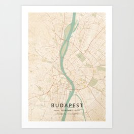 Budapest, Hungary - Vintage Map Kunstdrucke