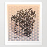 Dreams & Sky Cubes in Peach, Lavender, Charcoal  Art Print