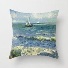 Van Gogh Seascape Throw Pillow