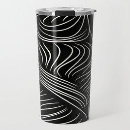 Abstract Lines - Tussled Hair TopKnot Travel Mug