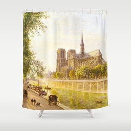 L'lle de la Cite and the Cathedral of Notre Dame, Paris from Quai Montebello by Firmin Girard Shower Curtain