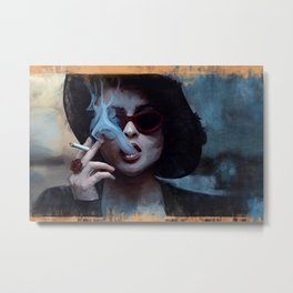 Marla Singer Smokes A Cigarette Behind Sunglasses - Fight Metal Print